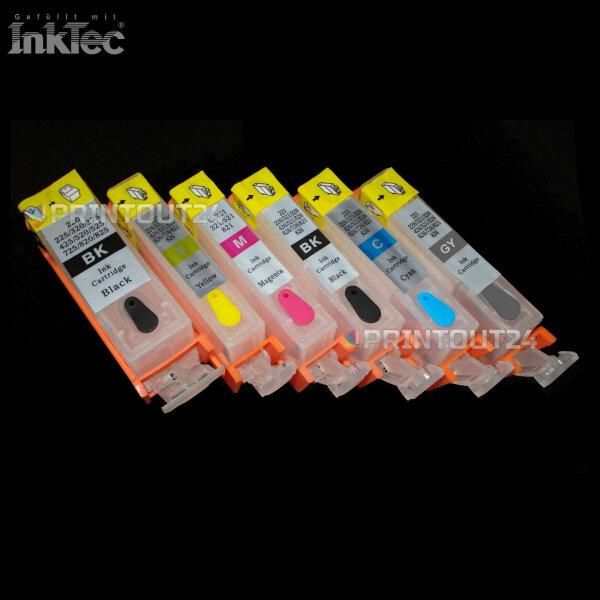 Befüllbare Patronen mit Inktec Tinte ink für Canon PGI 525 CLI 526 BK Y M C GY